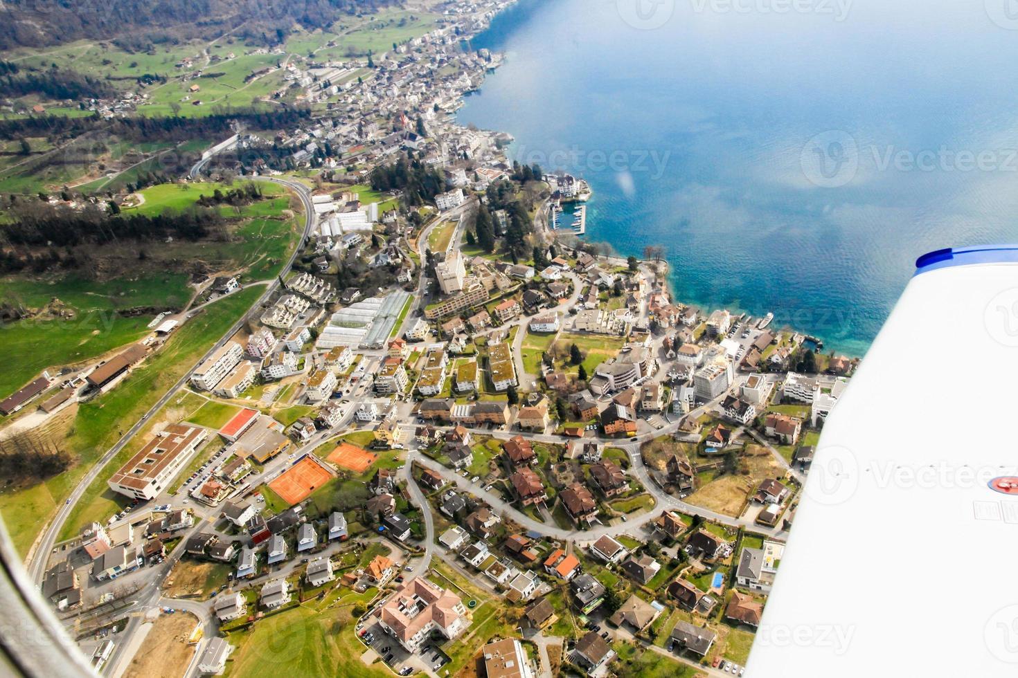 vistas aéreas del paisaje de la región de lucerna foto