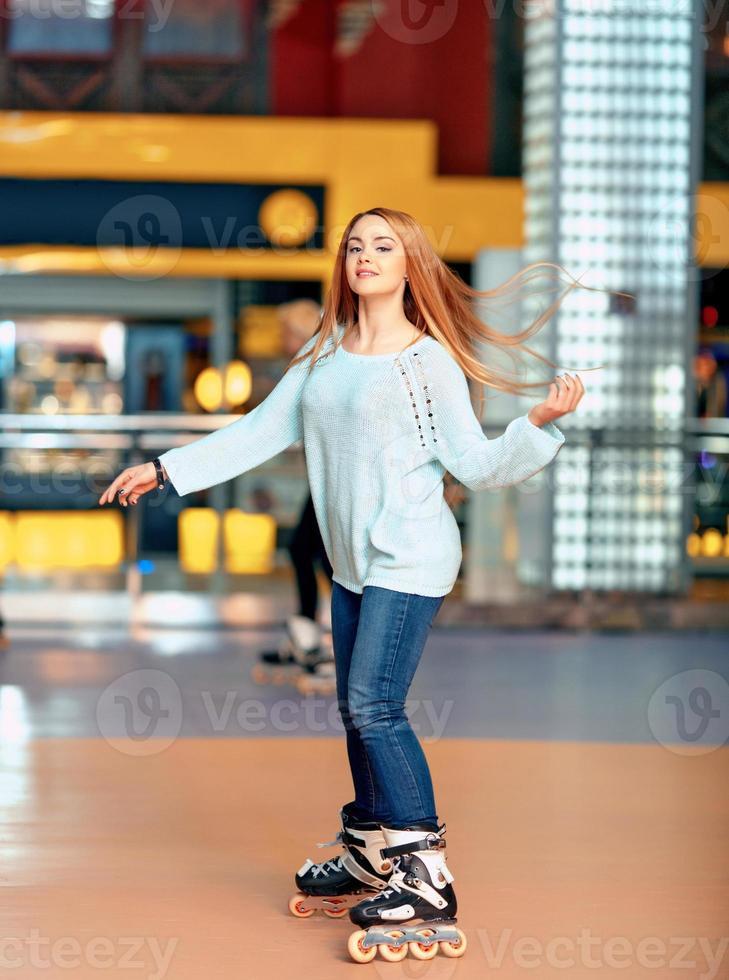 Beautiful girl on the rollerdrome photo