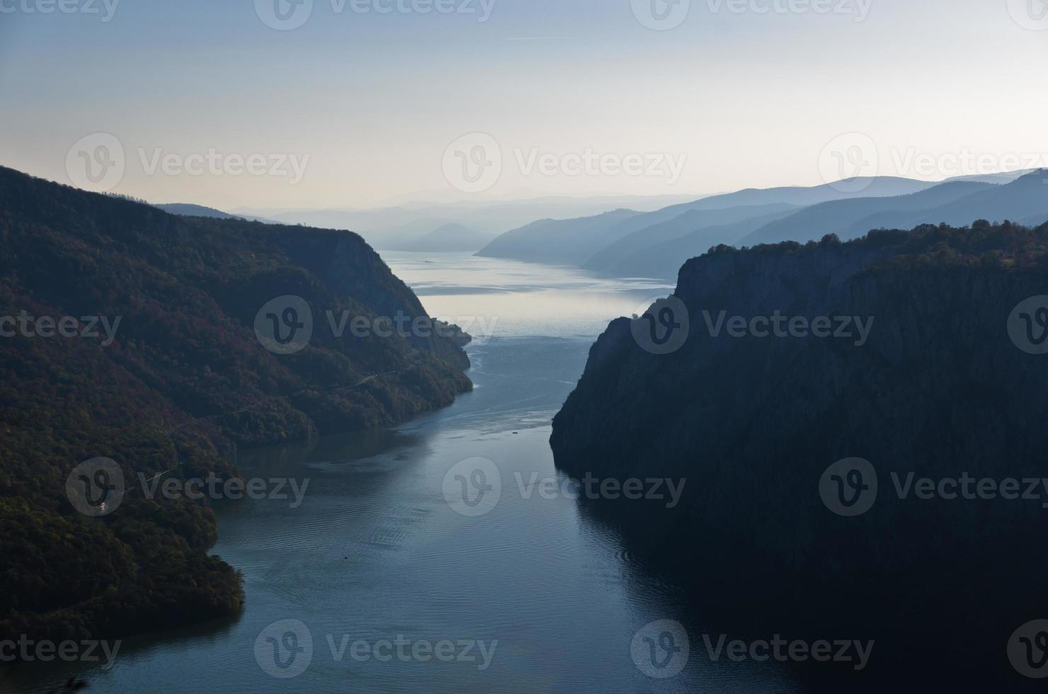 Danube river from top of Djerdap gorge at narrowest place photo