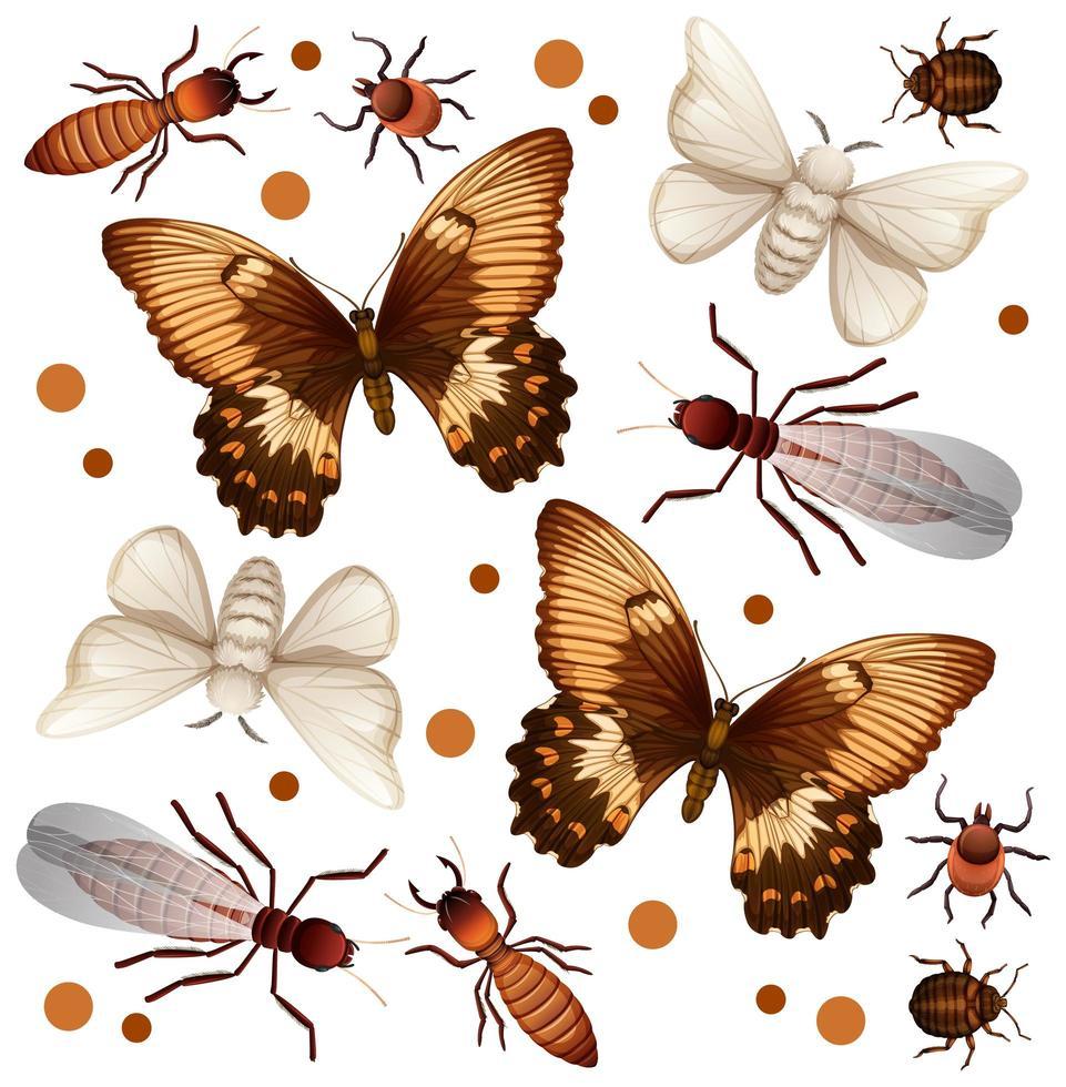 conjunto de diferentes insectos voladores. vector