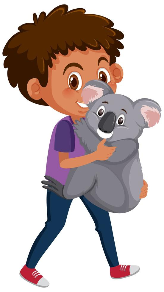 niño sosteniendo lindo oso koala vector