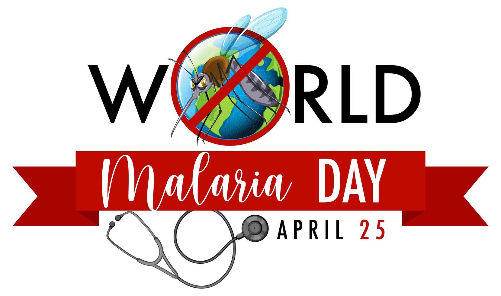 banner del día mundial de la malaria con mosquitos vector