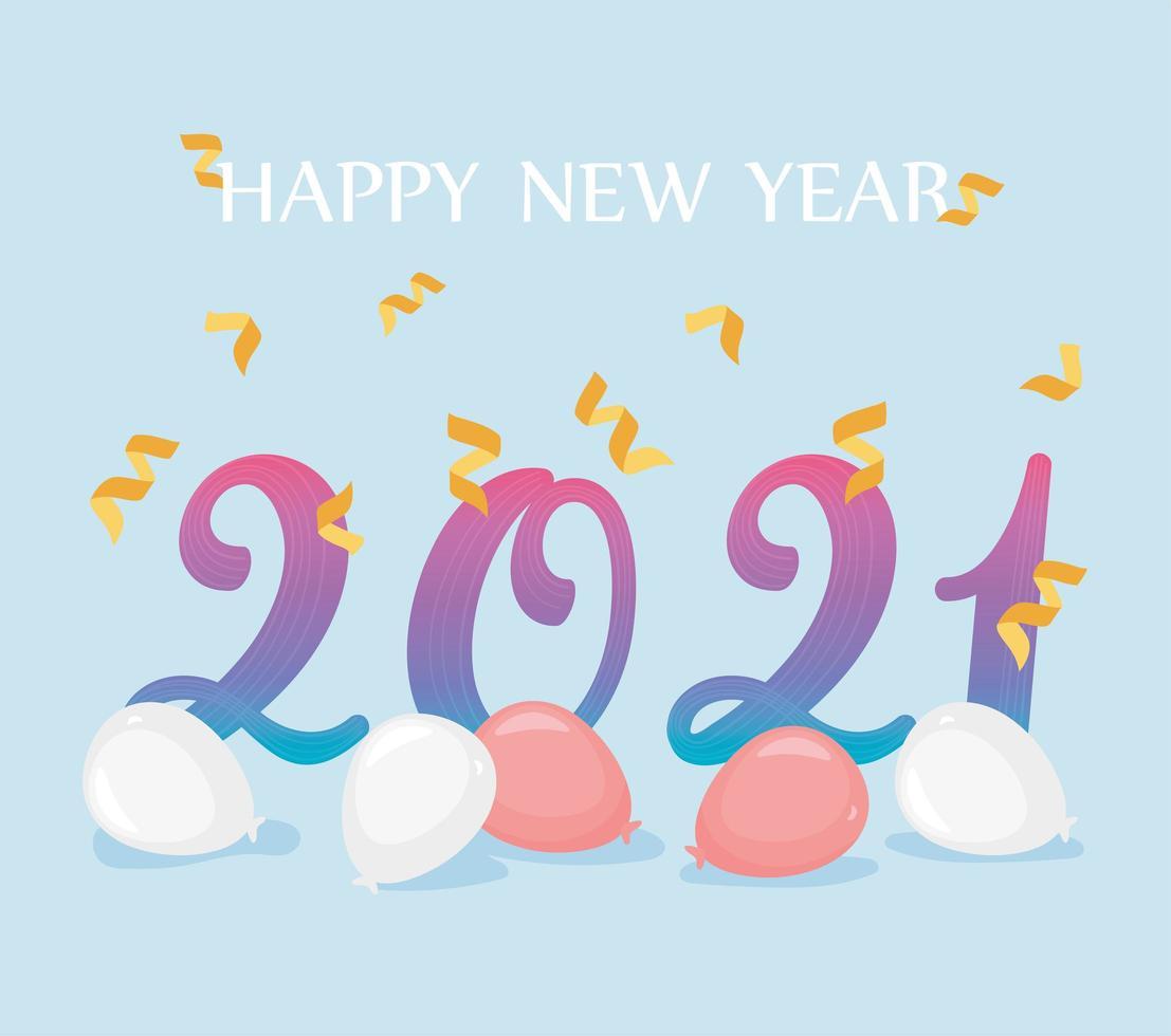 2021, feliz año nuevo composición vector