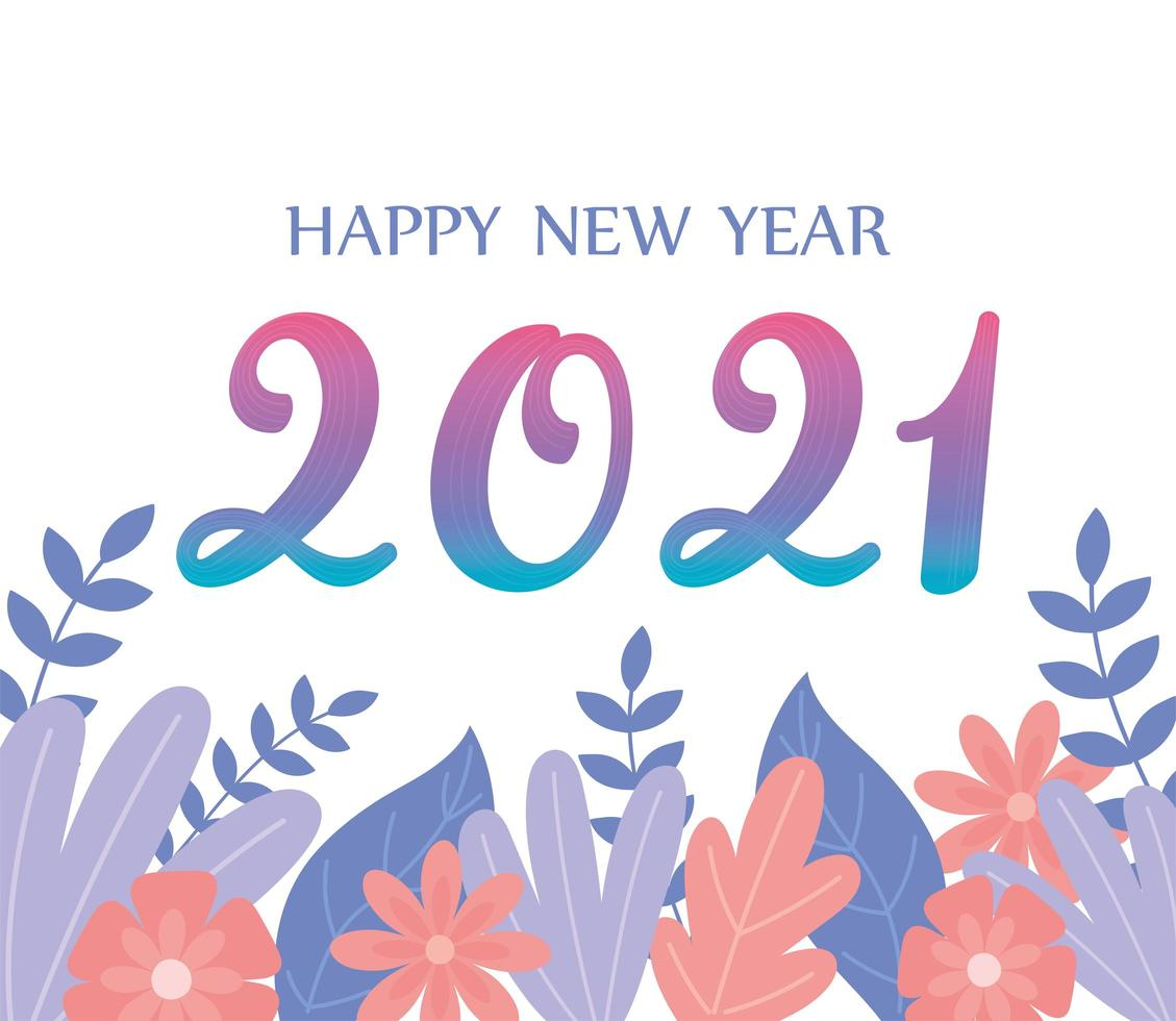 2021, happy New Year composition vector