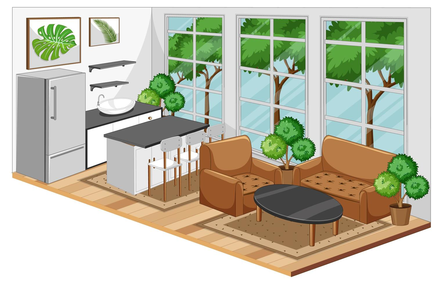 Dining room interior with furniture in modern style vector