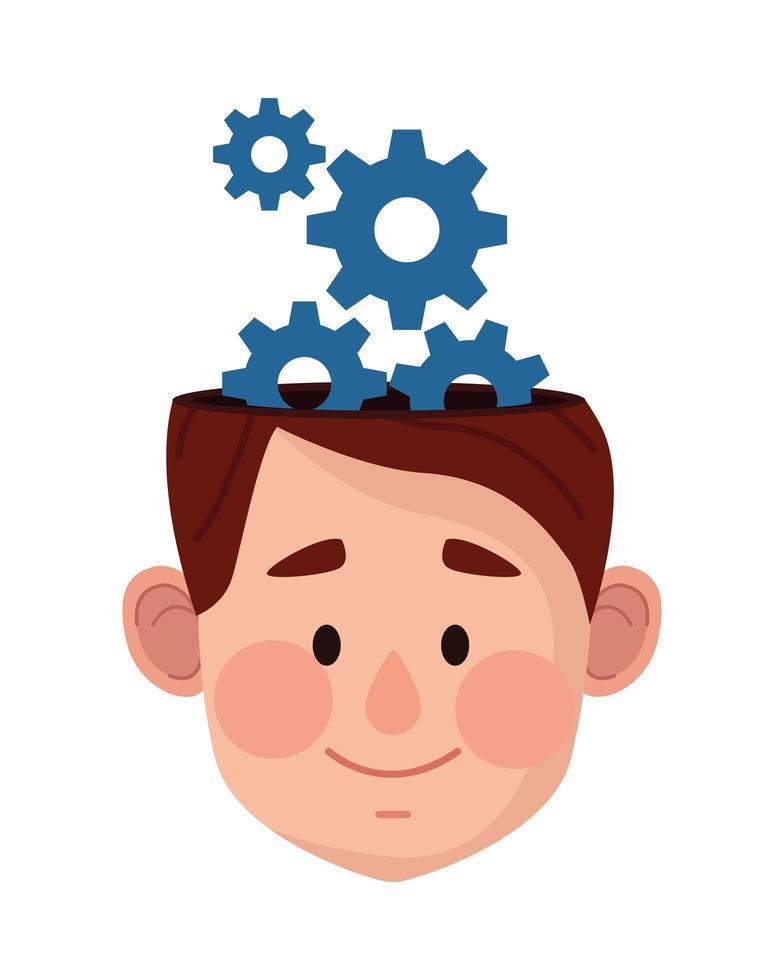 cabeza humana con engranajes, icono de salud mental vector