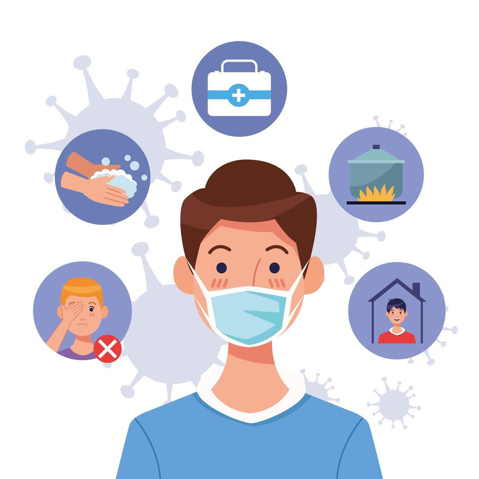 Young man using mask with covid19 set icons vector