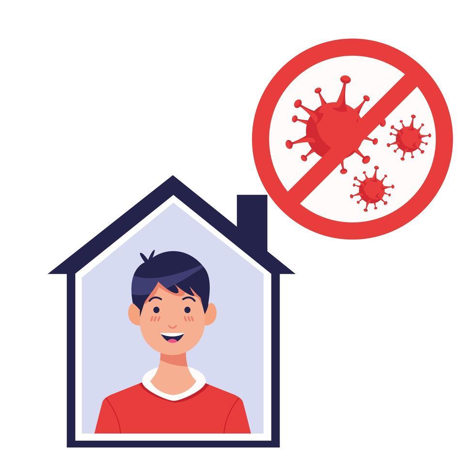joven dentro de casa con partículas covid19 vector