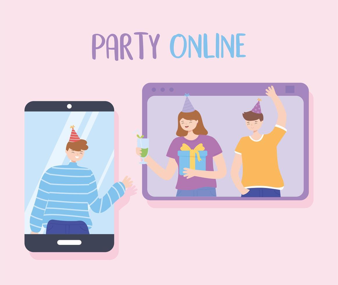 amigos festejando y celebrando en línea vector
