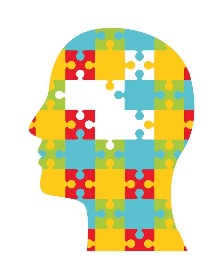 Rompecabezas de perfil humano, icono de salud mental vector