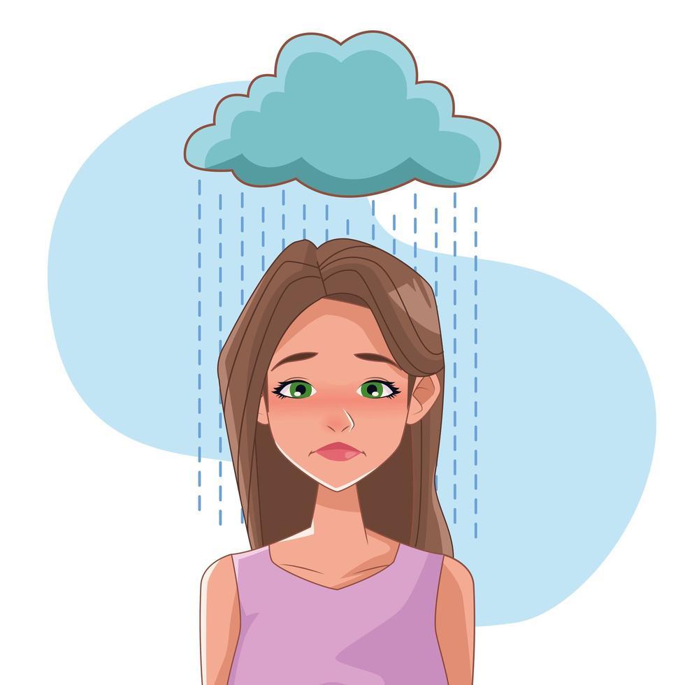 Mujer triste con síntoma de estrés y nube lluviosa vector