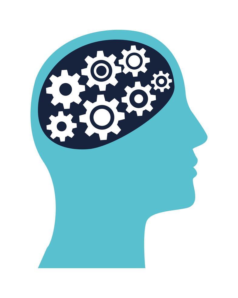 Perfil humano con engranajes, icono de salud mental vector