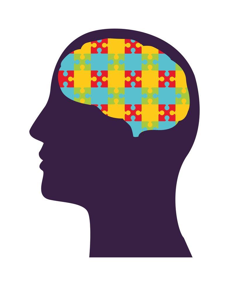 perfil humano con piezas de rompecabezas, atención de salud mental vector