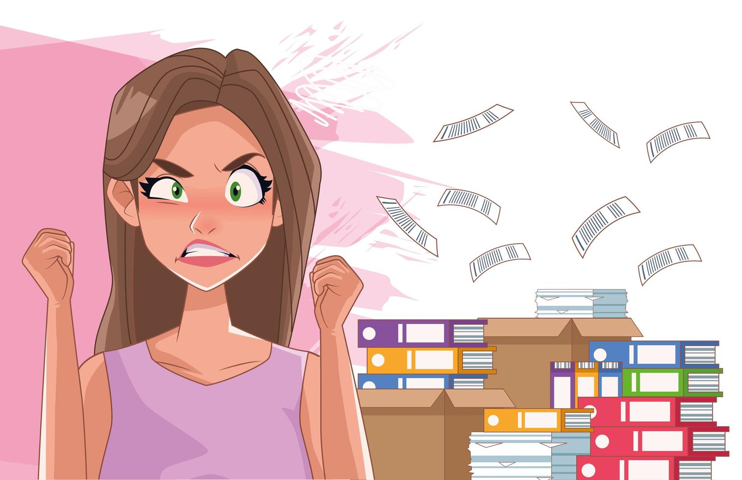 Mujer enojada con síntoma de estrés y pila de documentos vector