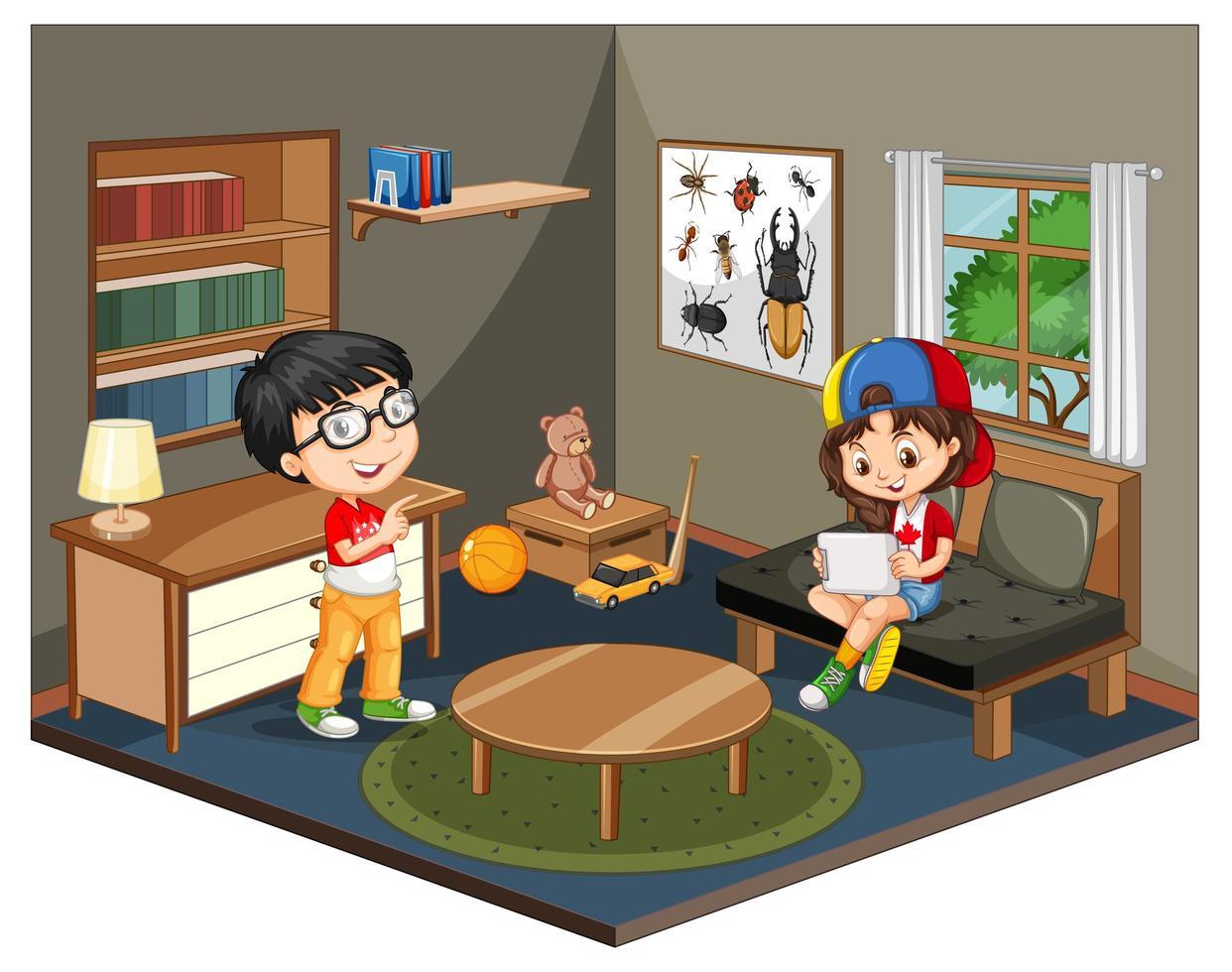 Kids in living room scene vector