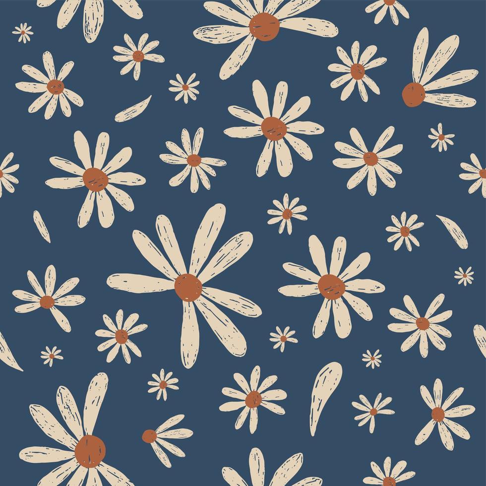 Daisy flower seamless pattern vector
