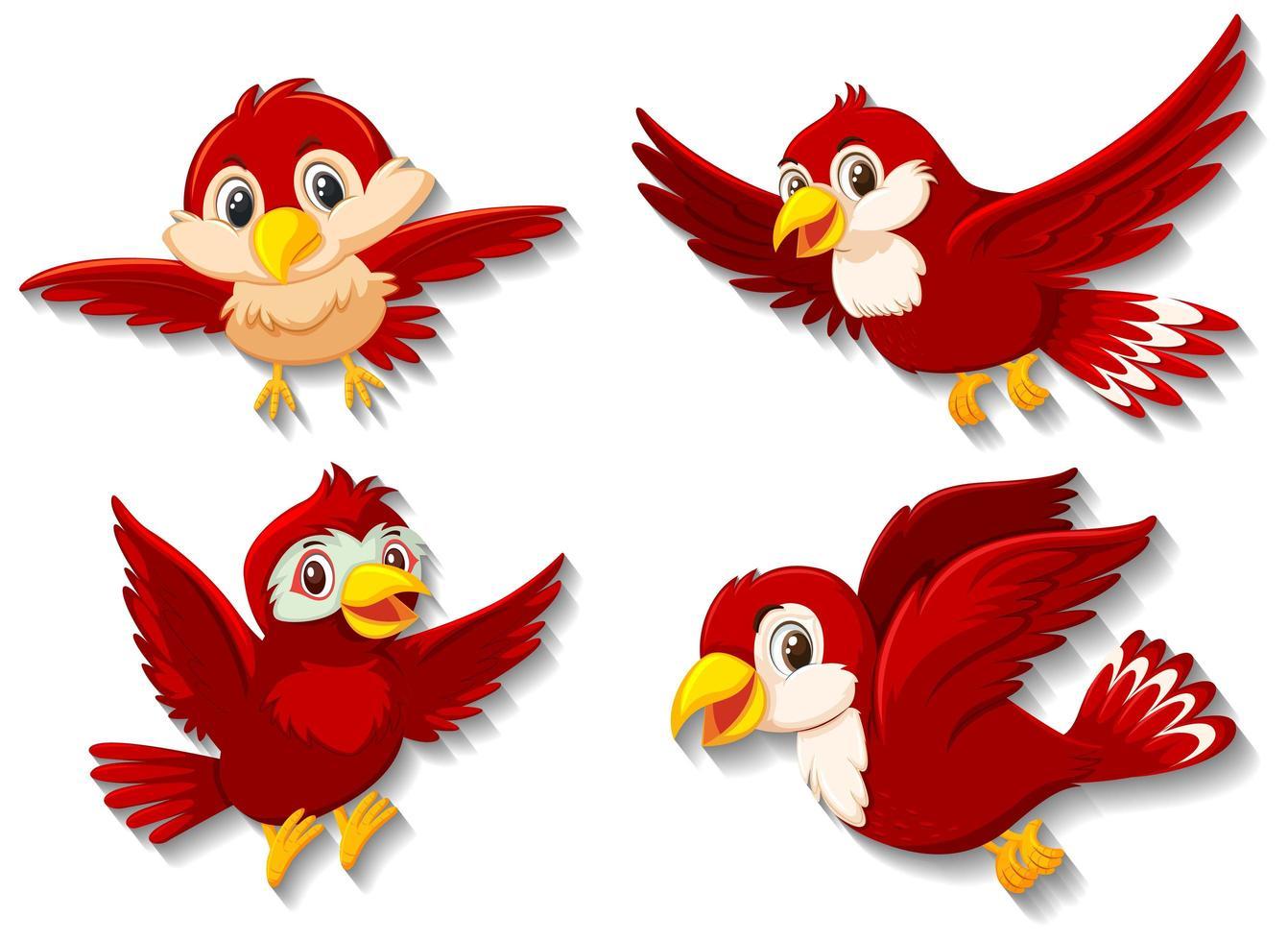 personaje de dibujos animados de pájaro rojo vector
