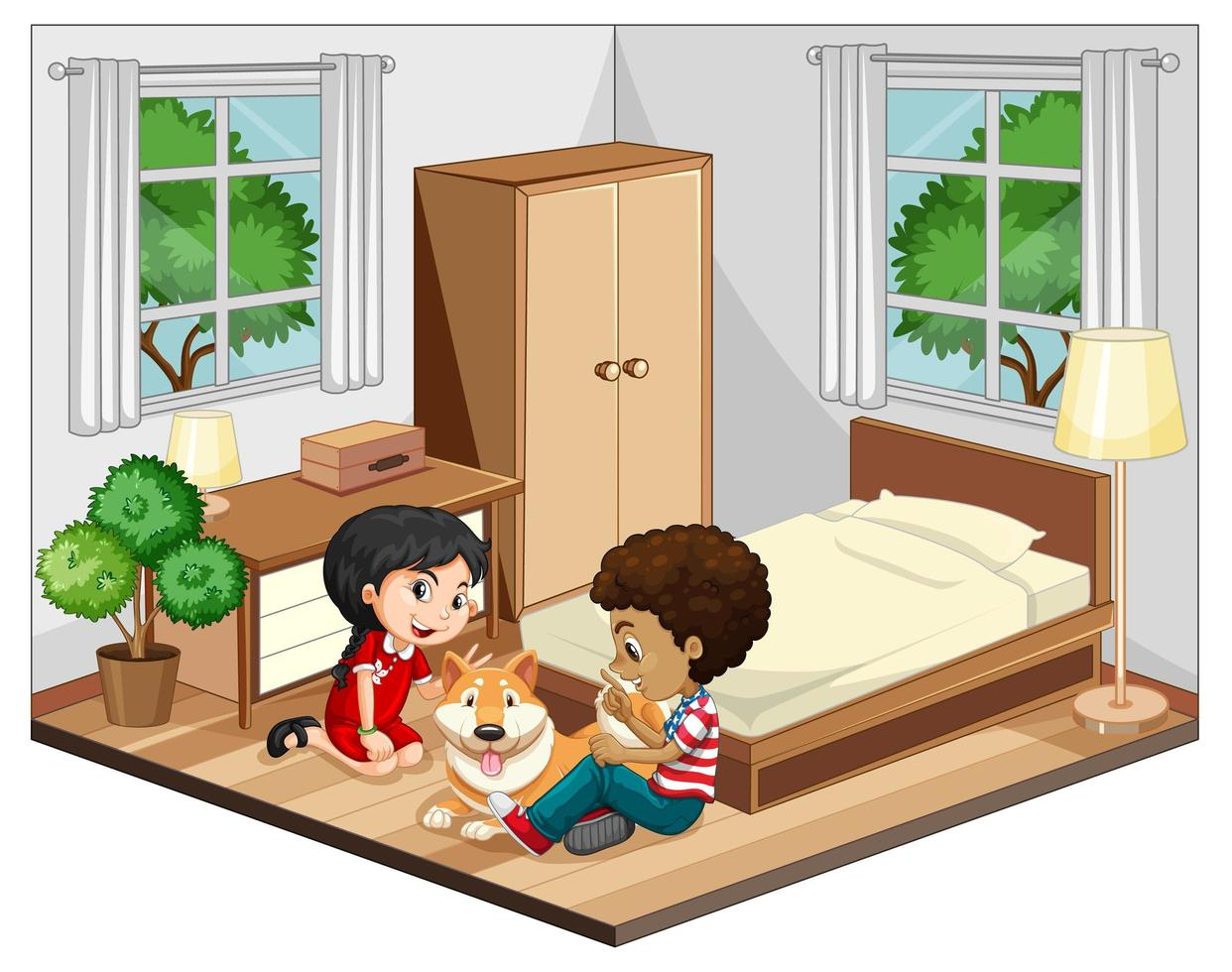 niños en la escena del dormitorio sobre fondo blanco vector