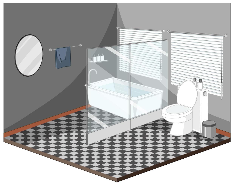 interior de baño con muebles vector