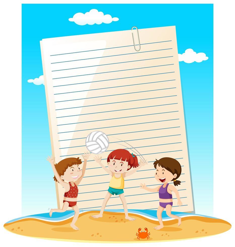 plantilla de nota de papel en blanco tema de verano vector