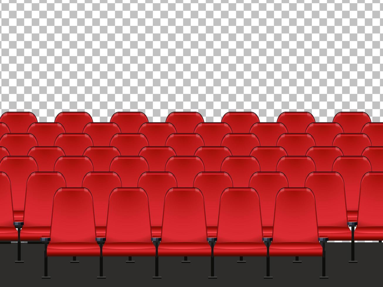 Asientos rojos en el cine con fondo transparente. vector