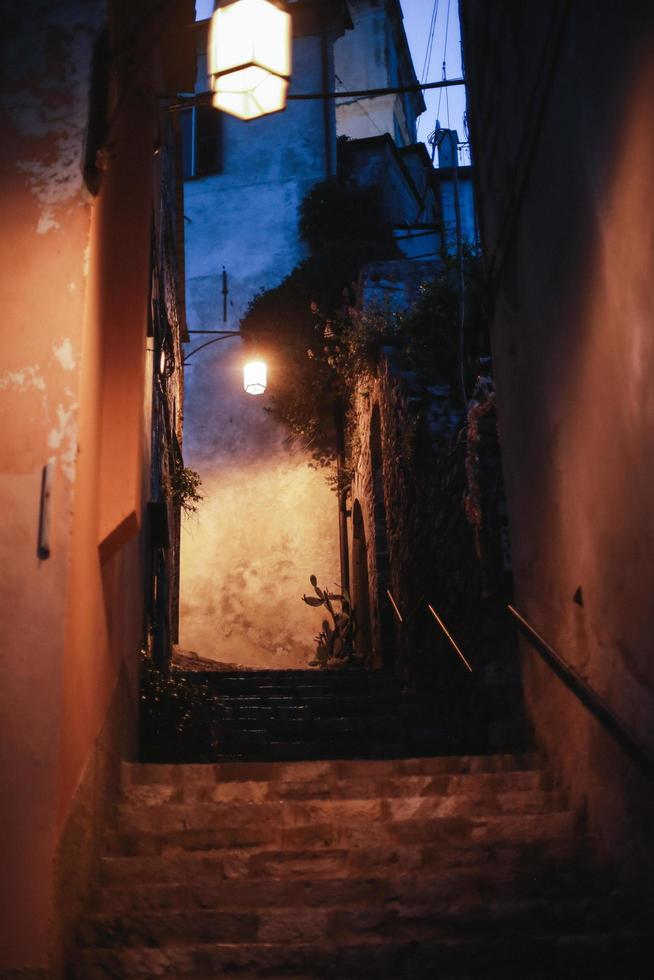 Alley with street lights photo