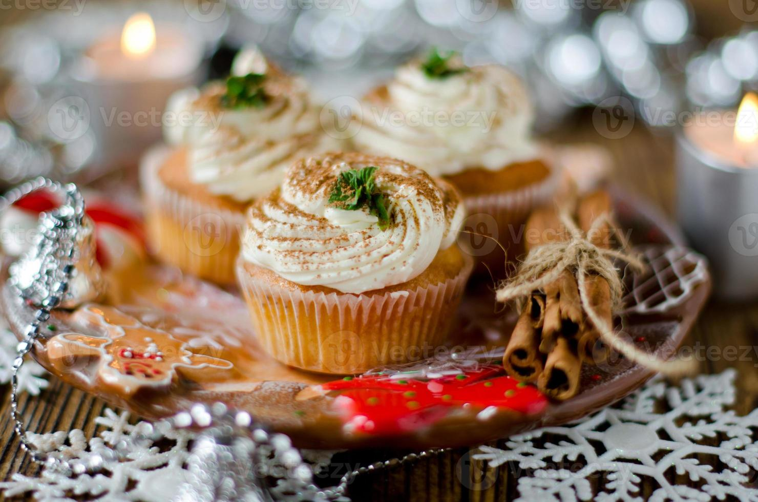 Christmas cupcakes with cream photo