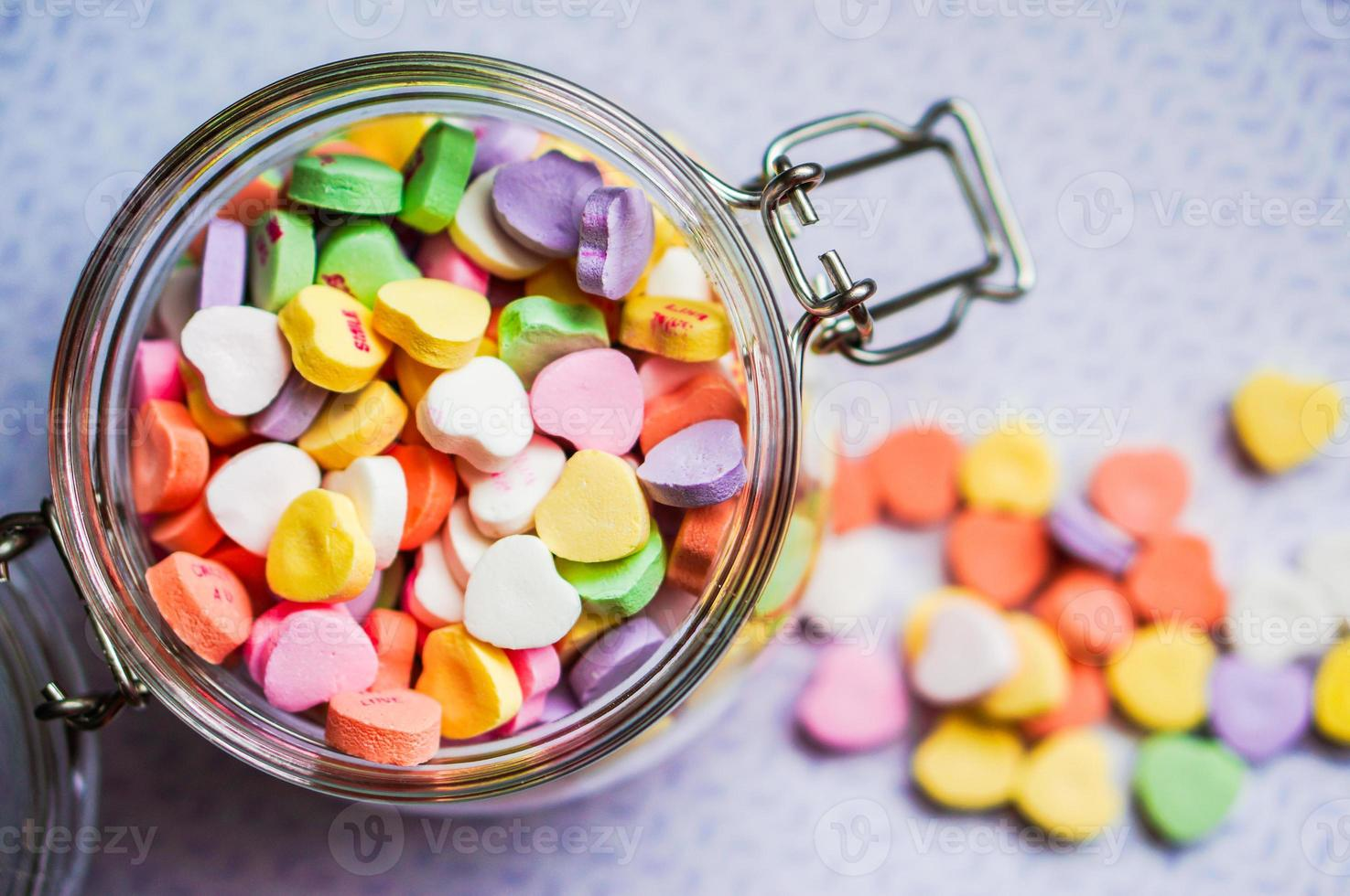 Closeup of heart candies with message photo