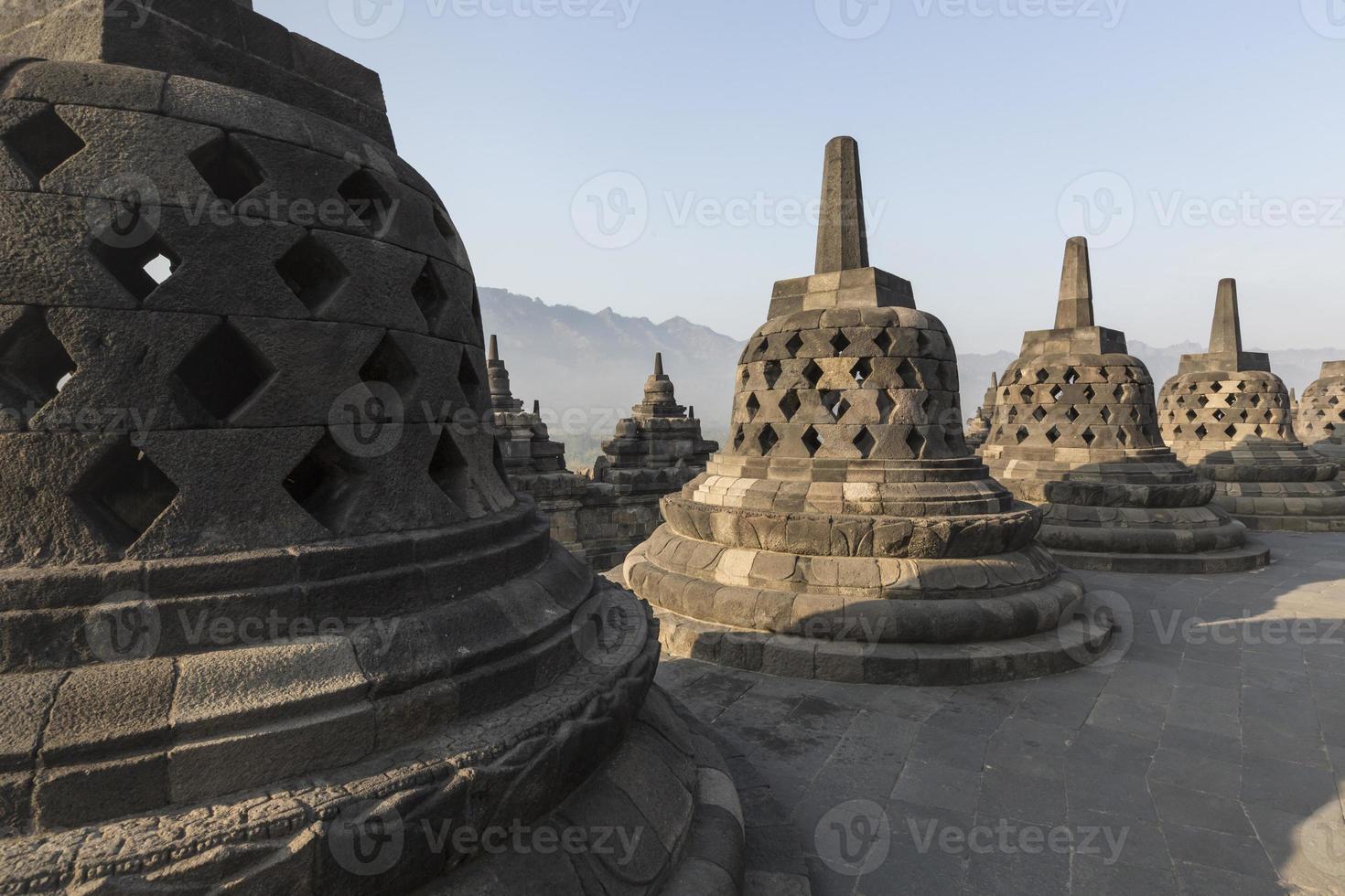 Borobudur temple complex on the island of Java photo