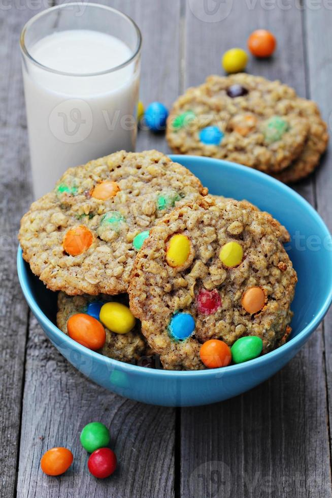 Cookies with colorful candies photo