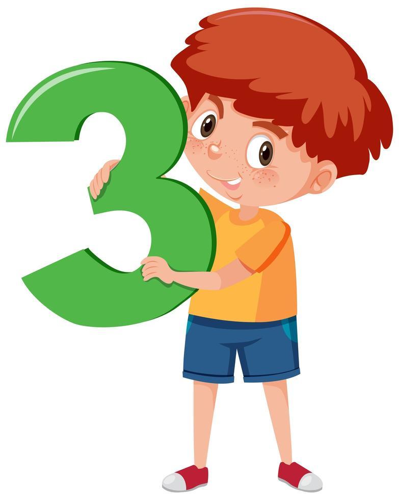 niño sosteniendo el número 3 vector