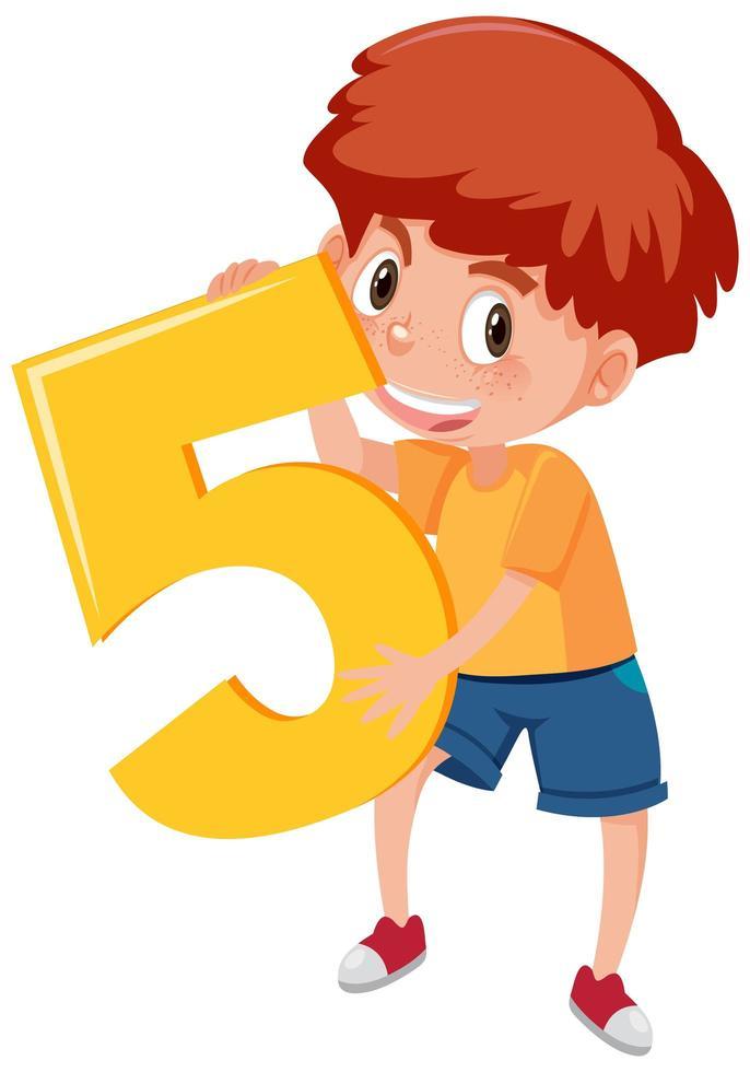 niño sosteniendo el número 5 vector