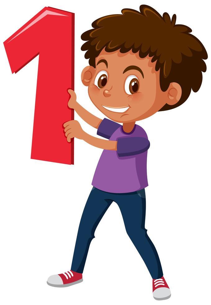 niño sosteniendo el número 1 vector