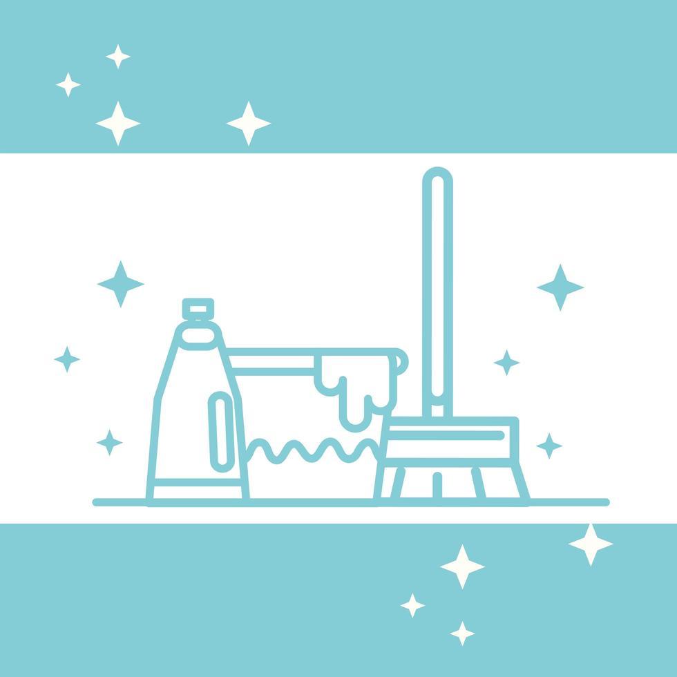 banner de pictograma de productos de limpieza vector
