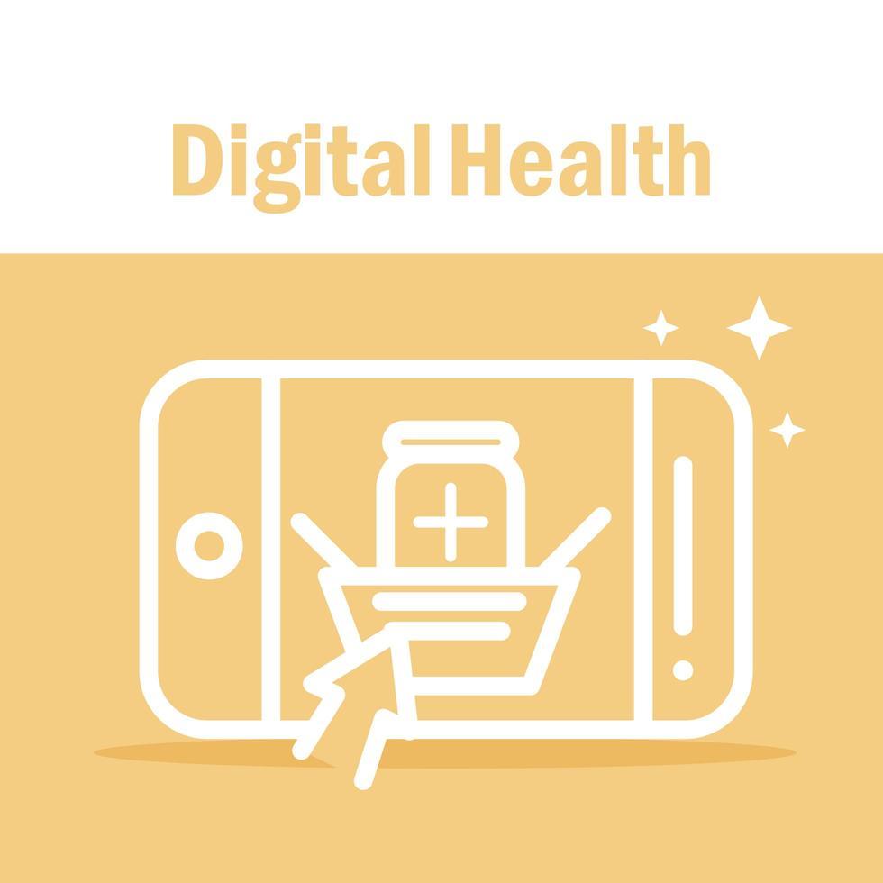 Digital health banner with smartphone pictogram vector