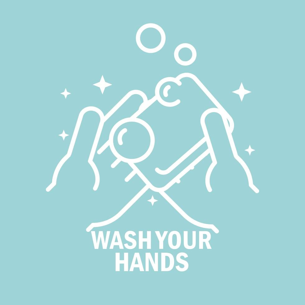 Protect and wash your hands pictogram with message vector
