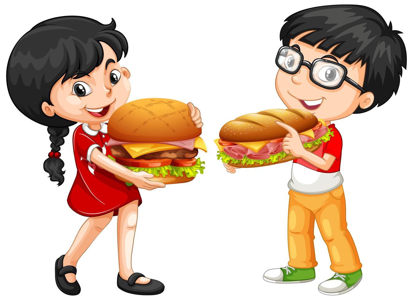 niños lindos sosteniendo sándwiches vector