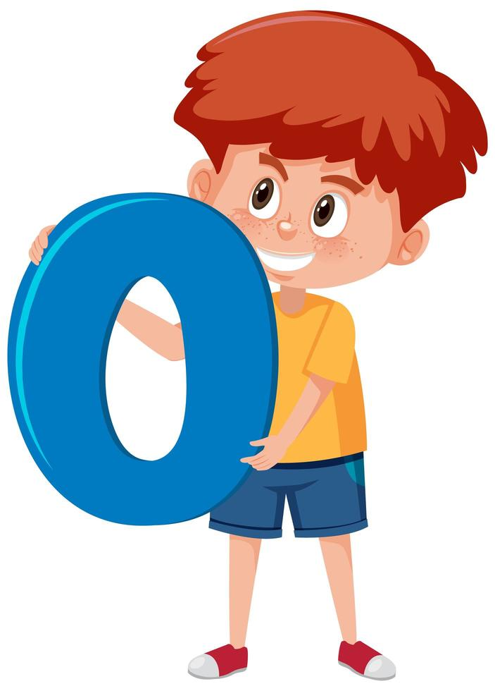 niño sosteniendo el número 0 vector
