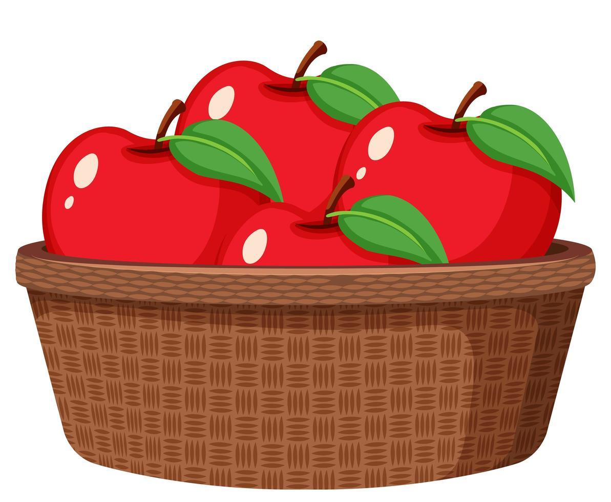 manzanas rojas en la canasta aislada vector