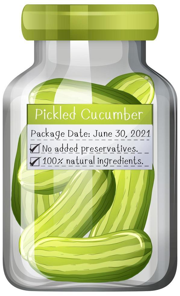 Conserva de pepino encurtido en frasco de vidrio vector