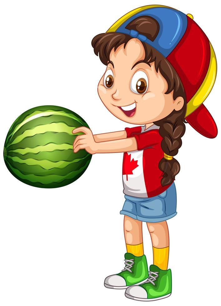 niña canadiense con gorra sosteniendo una sandía vector