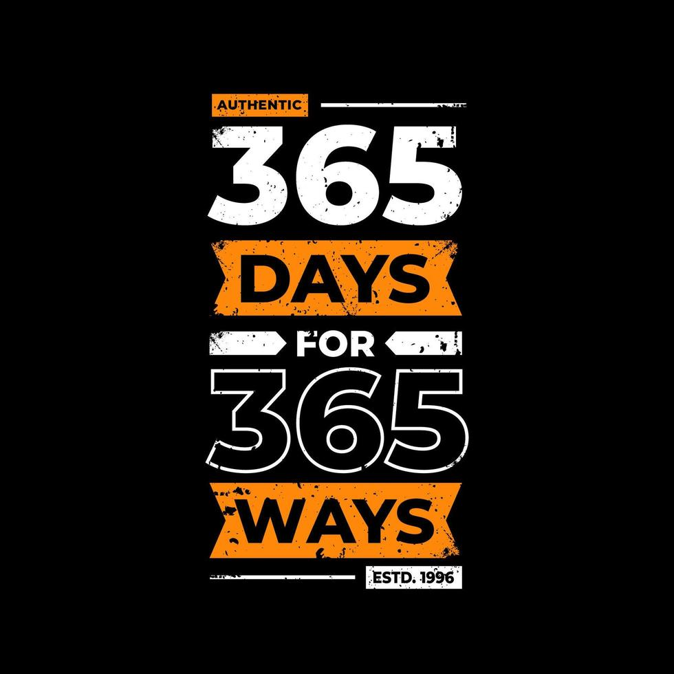 365 días para 365 formas de diseño de camiseta negra vector