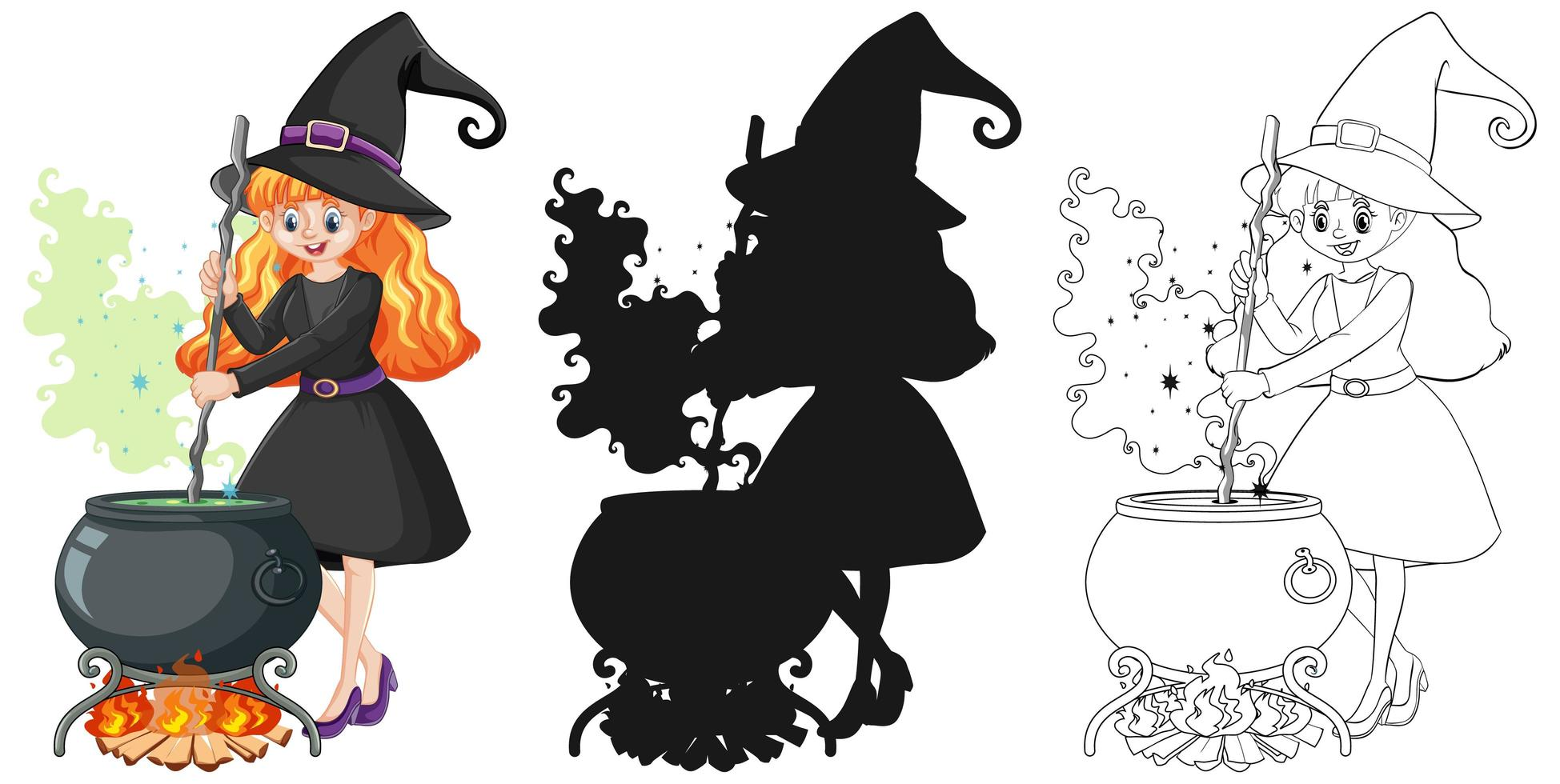 bruxa em desenho de cor, contorno e silhueta vetor
