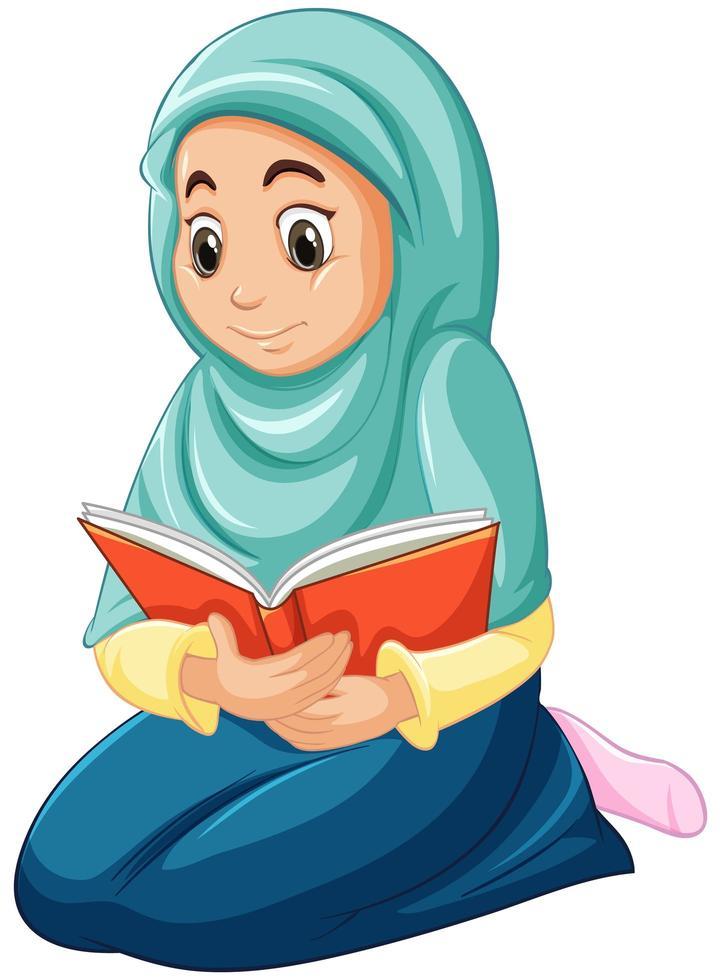 garota árabe muçulmana em roupas tradicionais lendo livro vetor