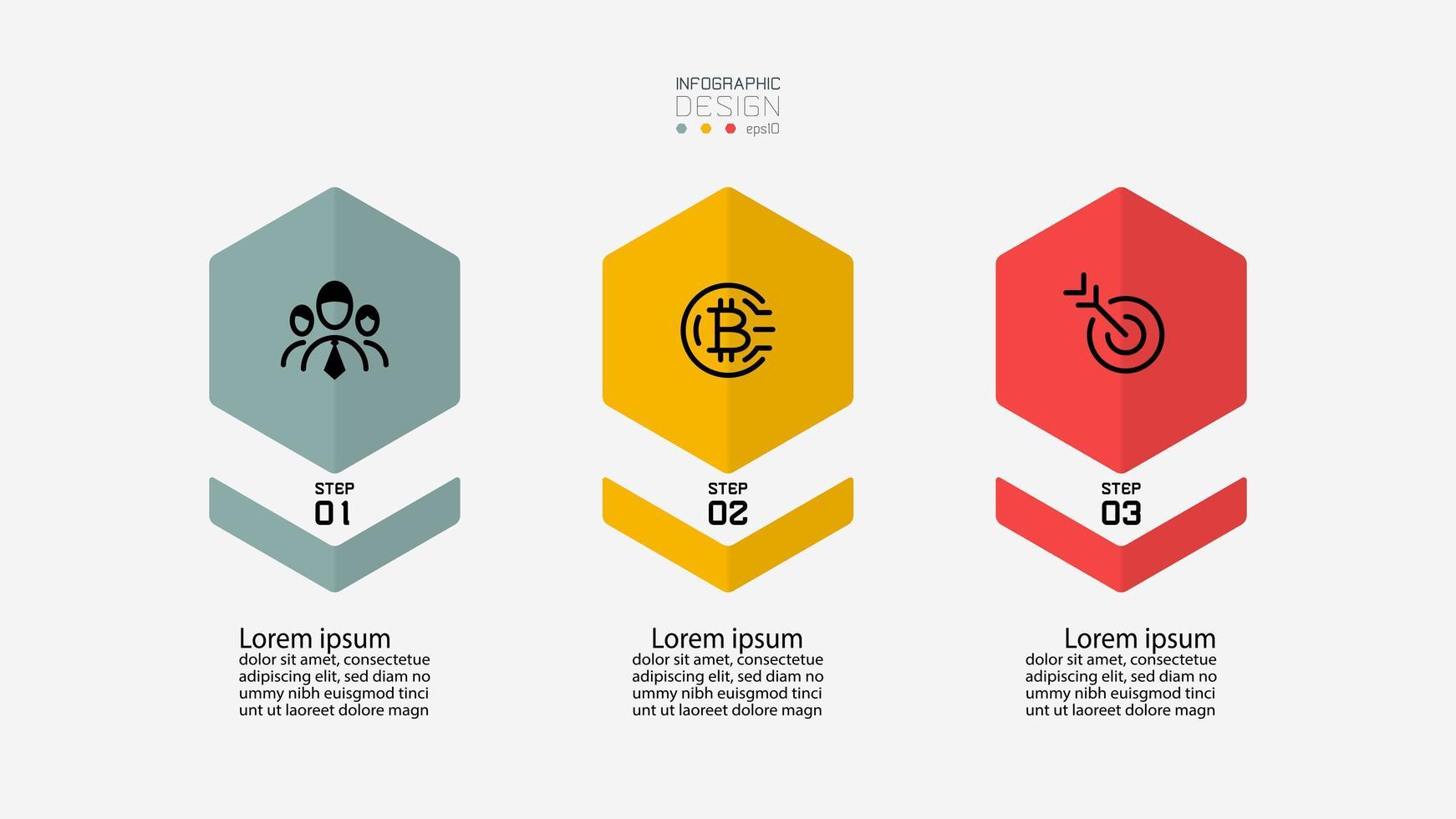 Conjunto de iconos de infografía de forma hexagonal vector