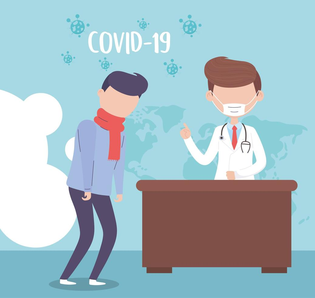 Hombre con síntomas de covid-19 en la pancarta del médico. vector