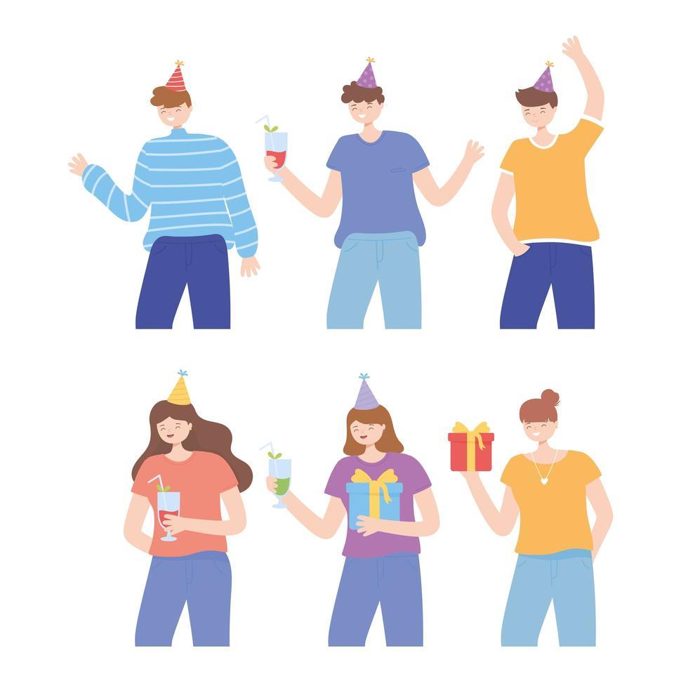 jovens com chapéus de festa e presentes vetor