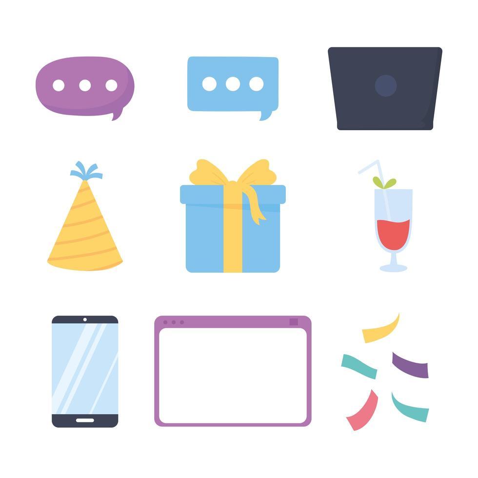 conjunto de iconos de fiesta en línea vector