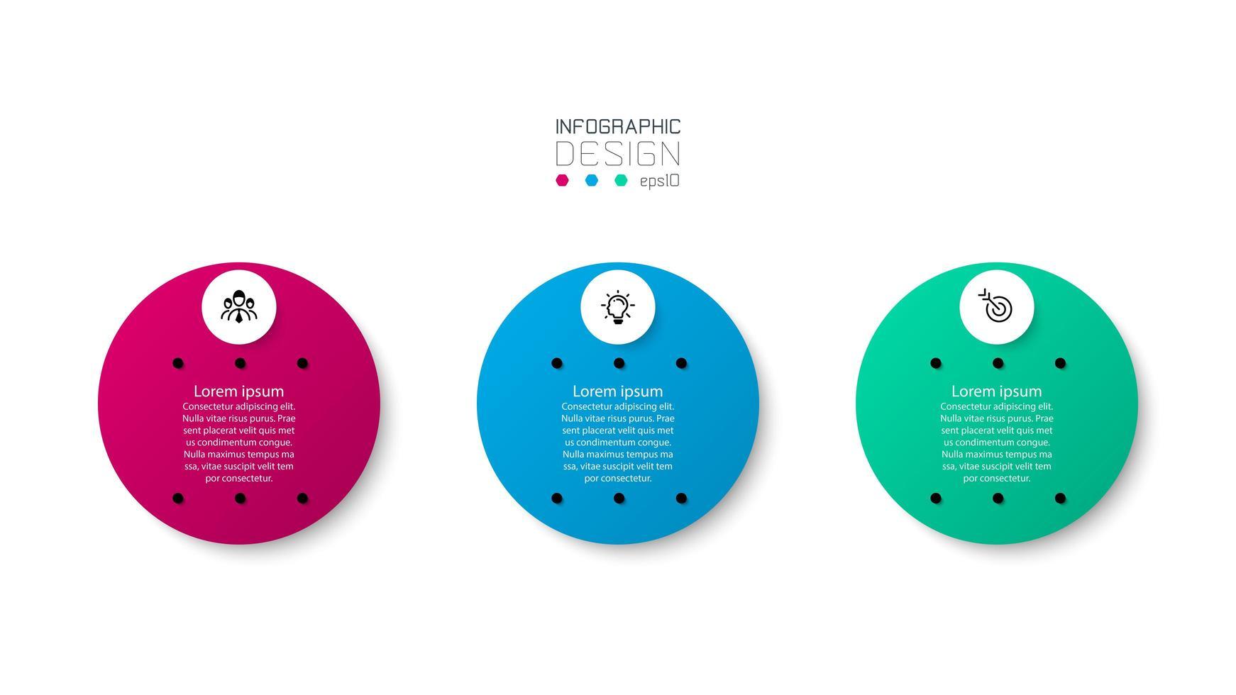 conjunto de ícones de infográfico de círculo colorido redondo vetor