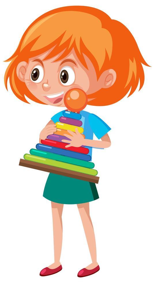 garota segurando personagem de desenho animado de objeto de arremesso de anel vetor